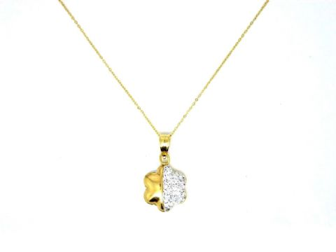 9ct Yellow Gold Flower Necklace with Swarovski Crystal Detail